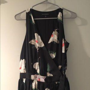 Banana Republic Sz4 Silk midi wrap dress EUC black